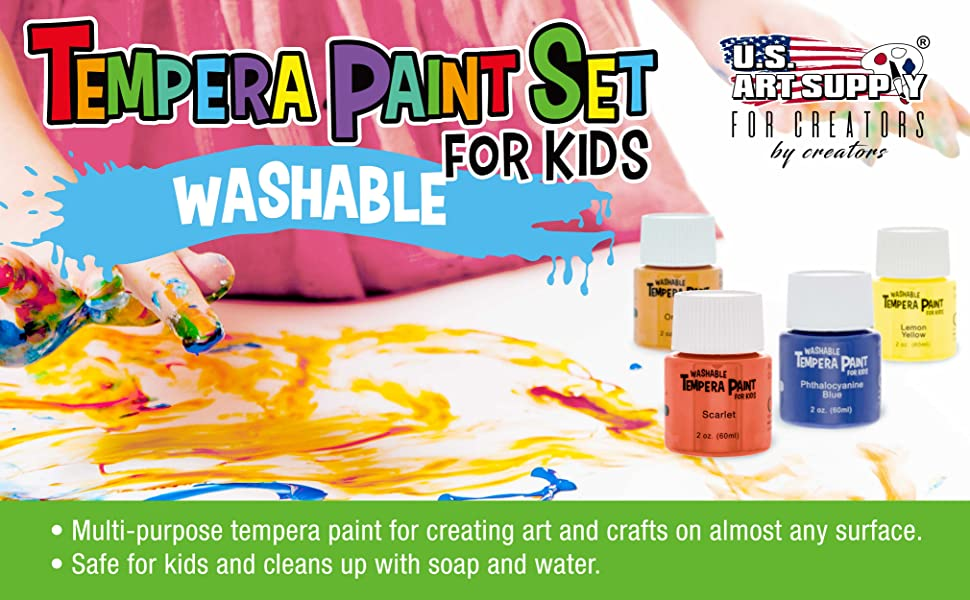 Tempera Paint Set for Kids Washable.