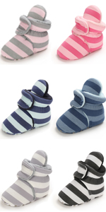 Baby Boys Girls Cozy Cotton Booties Infant Soft Sole Slippers Socks Shoes Grippers House Crib Shoes