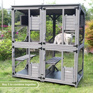 Amazon.com: Wooden Cat House Outdoor and Indoor Run Large