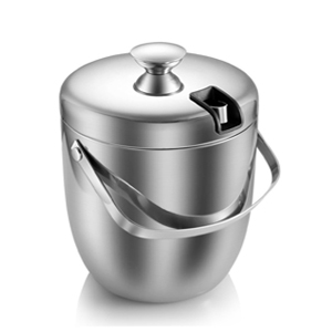 Amazon Com Ice Bucket Insulated Stainless Steel Double Walled Ice Bucket With Lid Stainless Steel Ice Tongs 2 8l Silver Kitchen Dining