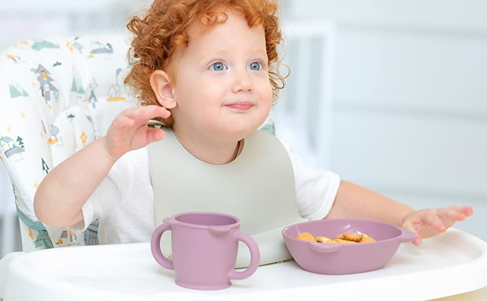 Blue Ginkgo Silicone Bowl and Cup Tableware set baby kids toddler made in Korea cute yellow pink