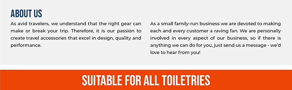 About us: small family run business. Travel accessories, toiletry bags and packing organizers