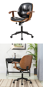 Balck Leatherette Adjustable Swivel Home Office Chair with Armrest