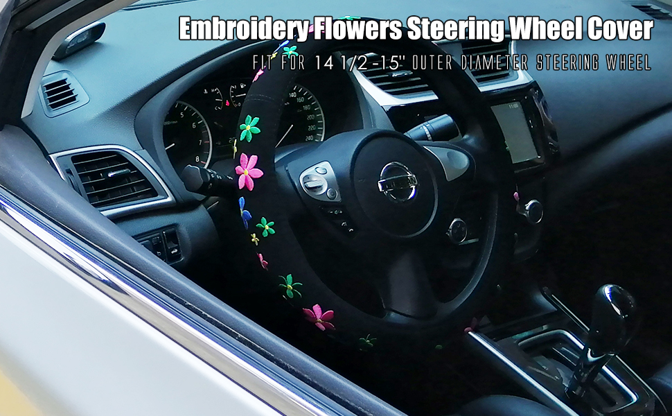 15 inches flowering style steering wheel cover