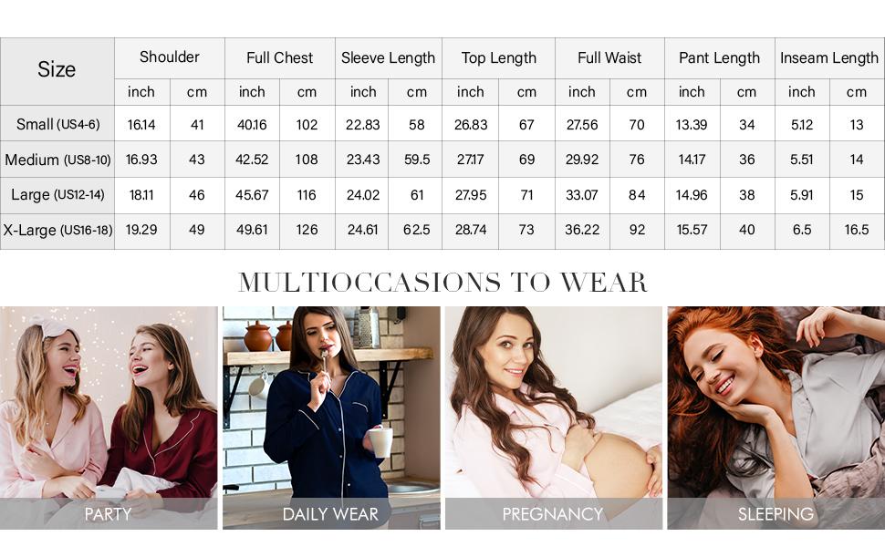 Sioro ladies pjs set Size Chart