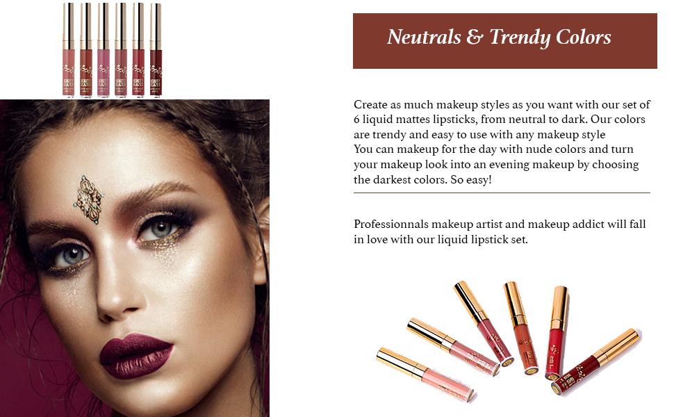 Beauty Glazed 6pcs Lipstick Set Matte Velvety Liquid Lipstick