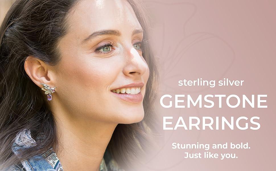 PZ Paz Creations Multi-Gemstone Earrings For Women Girls