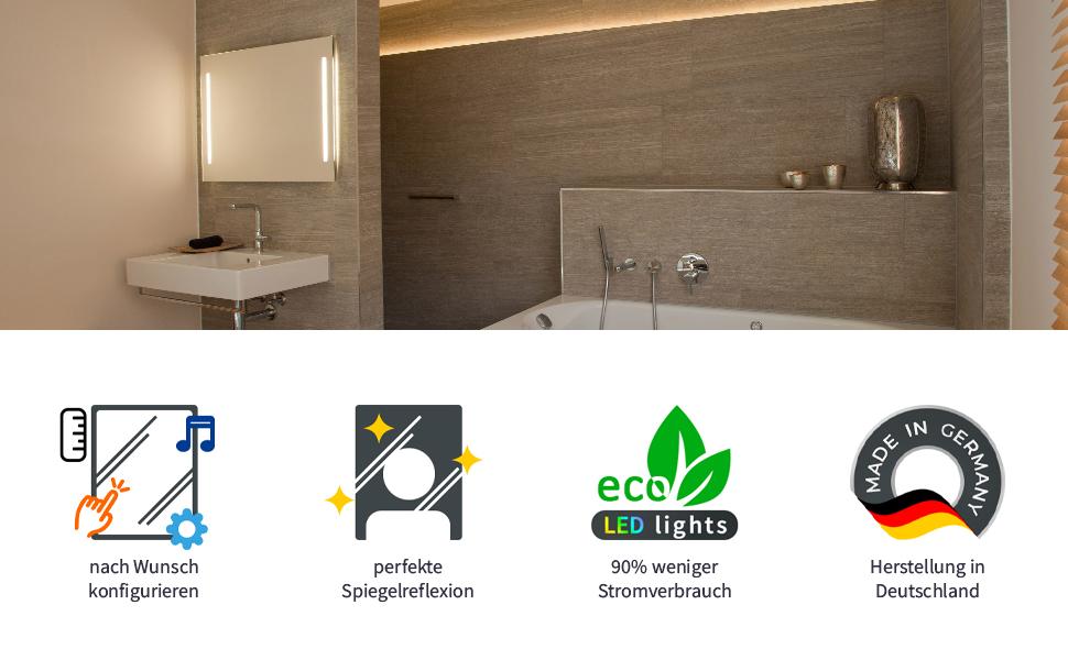 Fermo Design Badspiegel mit LED Beleuchtung nach Wunschmaß hergestellt in Deutschland