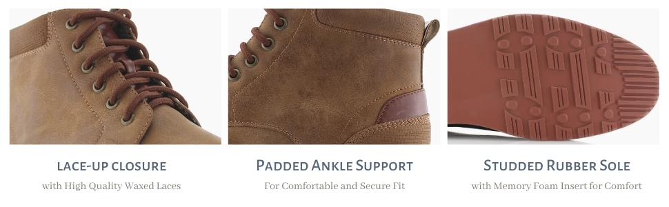 lace up, ankle support, ankle boots, nice rubber sole, memory foam insert