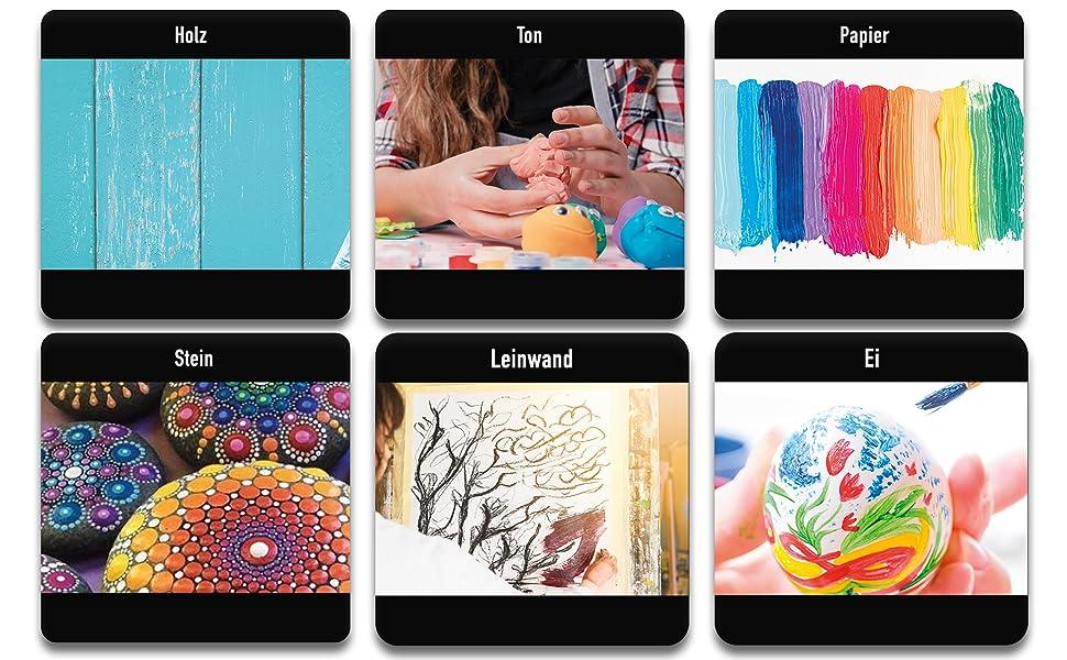 Acryl Farben, Acrylfarben Set,  Kinder, Künstlerfarben, Acrylfarbe, weiß, schwarz, gold, silber