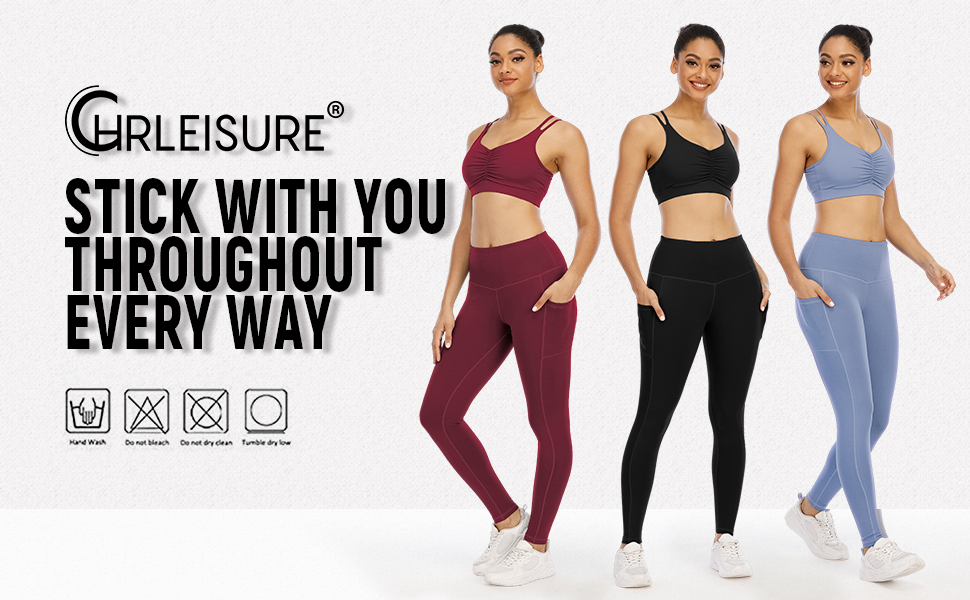 High Waist Yoga Pants with Pockets for Women, Tummy Control Workout Running Yoga Leggings