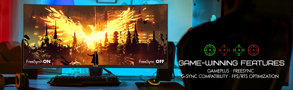 GAMEPLUS · FREESYNC · G-SYNC COMPATIBILITY · FPS/RTS OPTIMIZATION
