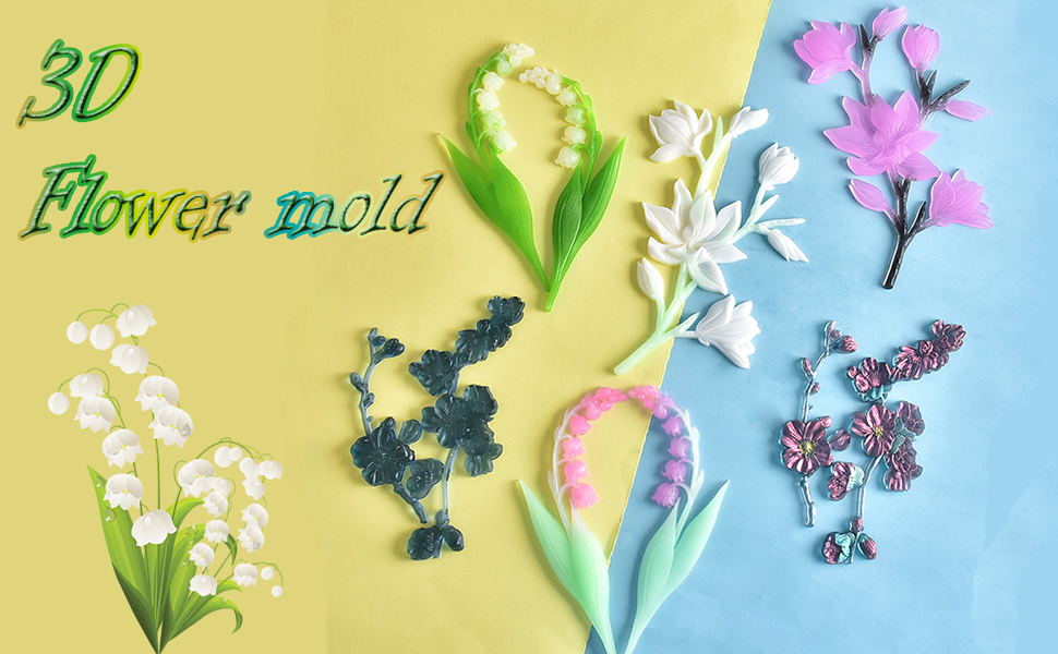 FineInno Resin Molds, Convallaria majalis Shape Silicone Resin Mold, Lily of The Valley Flowers Mold