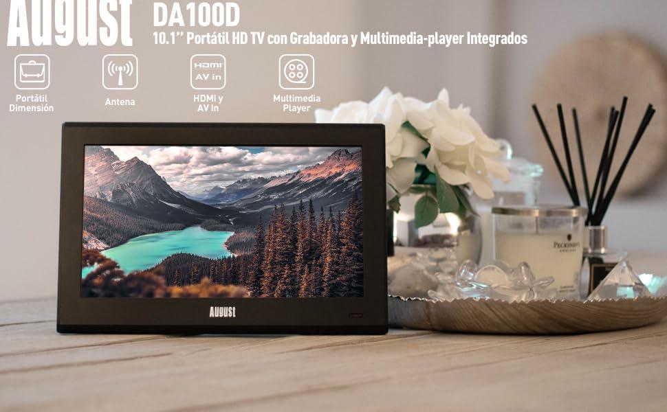 """Televisión Portátil TDT HD 10"""" DVB-T & DVB-T2 August DA100D Pantalla LCD UHD Ready, Grabador PVR y Reproductor Multimedia Retransmisión Digital & Analógica, No pagues Internet por ver TV: Amazon.es: Electrónica"""