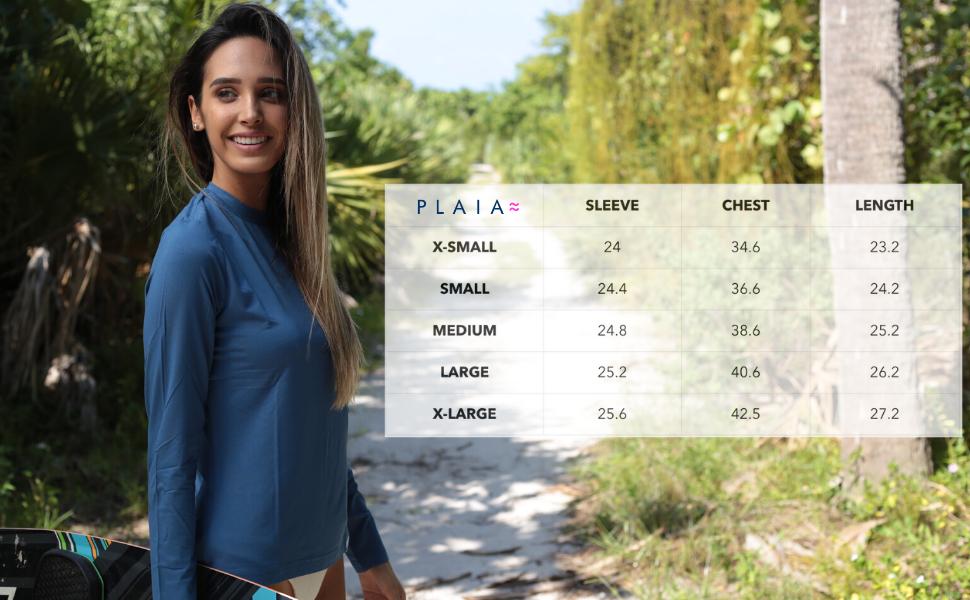 plaia hoodie size chart