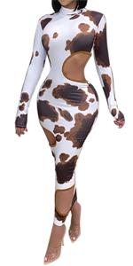 Bodycon Cutout Retro Print Maxi Dress Clubwear