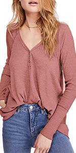 V Neck Button Down Waffle Knit Shirts