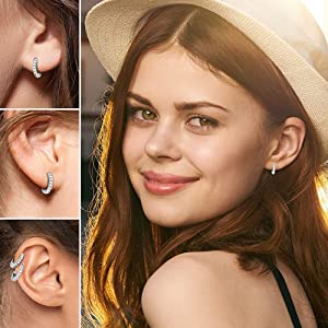 Surgical Stainless Steel Small Huggie Hoop Earrings Cubic Zirconia for Women Men Hypoallergenic 18G 6//8//10//12//14mm Cartilage Helix Lobe Conch Piercing Jewelry