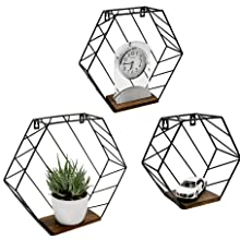 Metal hexagon shelves, Set of 3, Neutral color for any room and styles, Hold various home decor