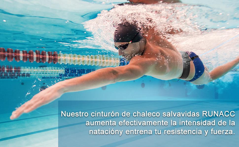 RUNACC Cinturón de natación Ajustable para Piscinas de natación (Azul): Amazon.es: Deportes y aire libre
