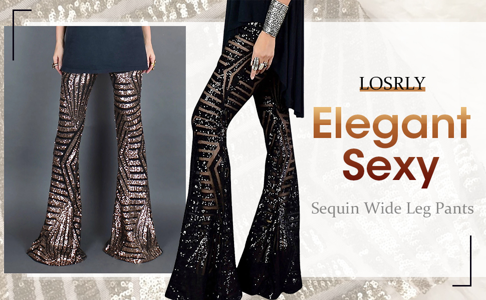 LOSRLY Womens Sequin Flared Trousers High Waist Causal Wide Leg Palazzo Pants(S-XL)