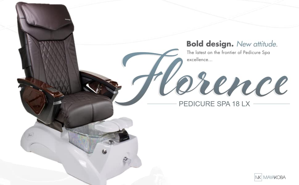 Florence Pedicure Chair Spa White Glass Tub with 18 LX Massage Chair