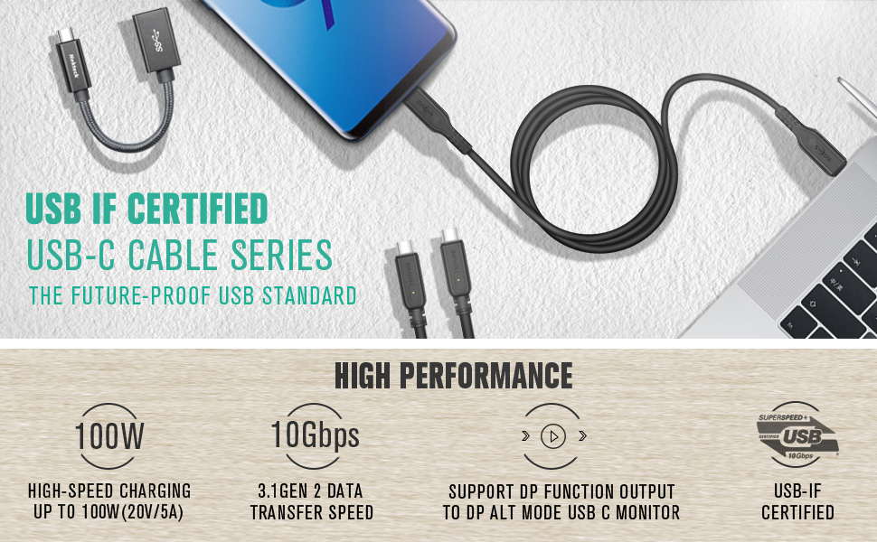 USB-C to USB-C 3.1 Gen 2 Cable 15cm//1m//2m Fast PD Power Delivery for iPad 2018
