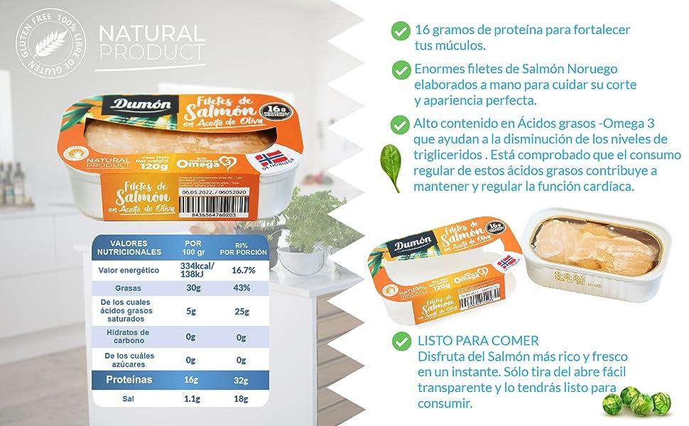Dumón - 11 Unidades de 120 gr de Filetes de Salmon Noruego en Aceite de Oliva, Exclusivo Formato Transparente con Abre Fácil, Conserva de Pescado en ...