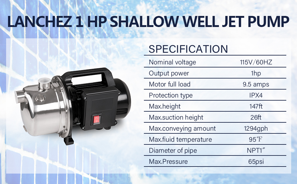 1 HP Shallow Well Pump by Lanchez Portable Stainless Steel Water Transfer Lawn Sprinkler Irrigation Pump 1294GPH 147ft Height