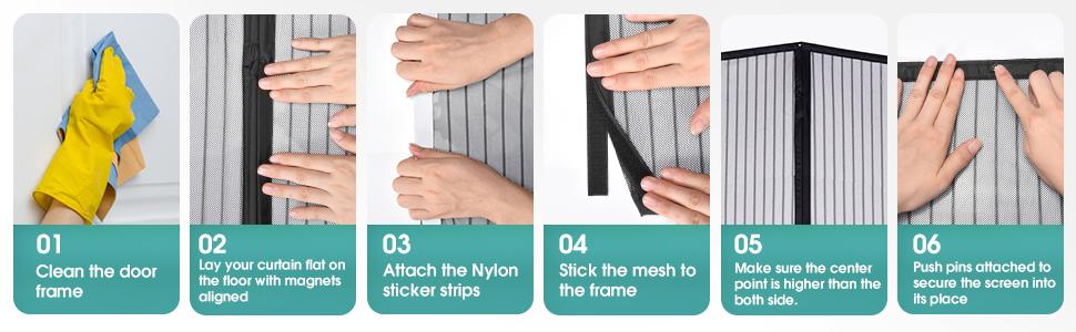 Magnetic screen door installation method