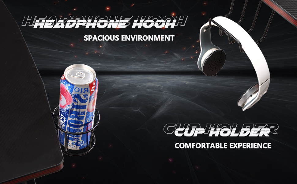 cup holder and headphone hook