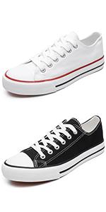 white black canvas sneakers
