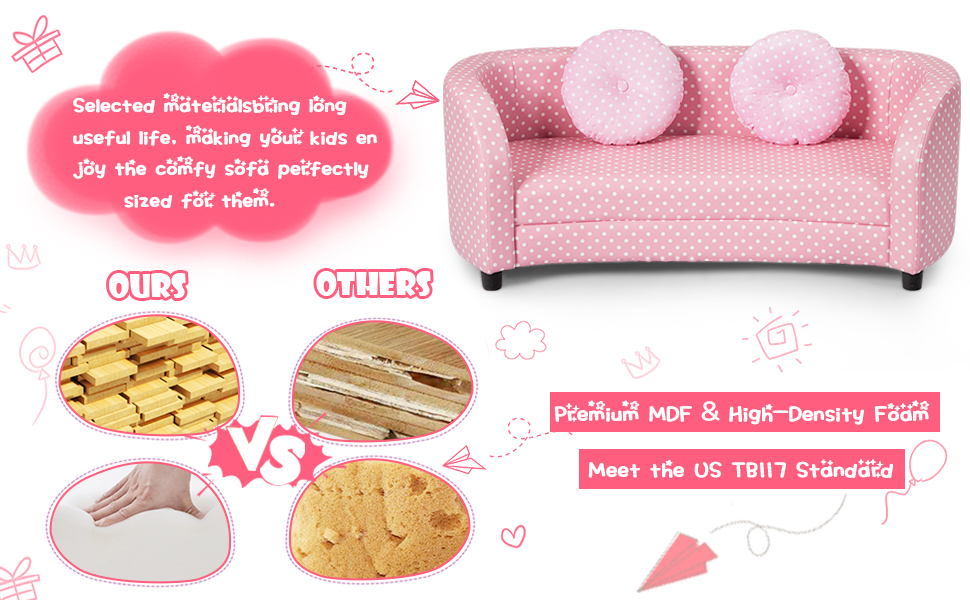 kids pink sofa with pillow
