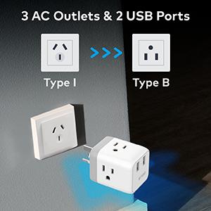 us to australia new zealand china argentina power plug adapter