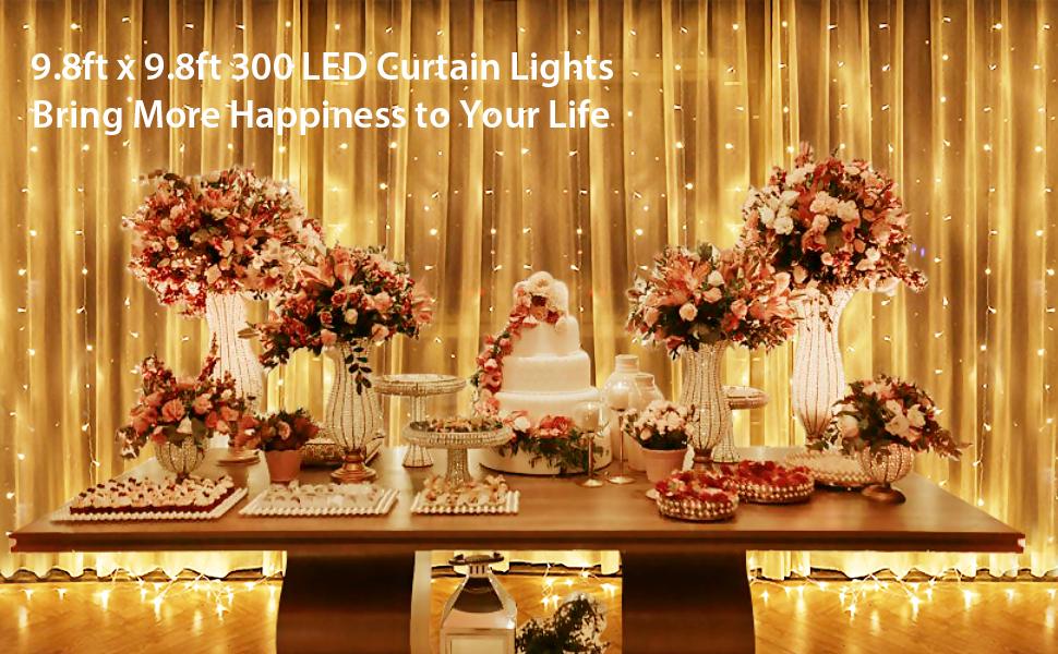300//600 Led Curtain Fairy Lights Wedding Indoor Outdoor Christmas Garden Party