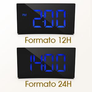 Holife Despertador Digital, [2019 Actualizado] Reloj Despertador Digital de Pantalla Curvada, con 3 Sonidos de Alarma, Fácil de Operacion, Función ...