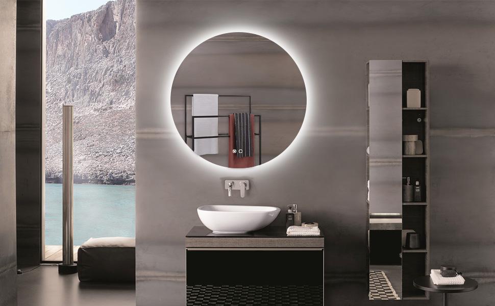 32 inch backlit round bathroom mirror