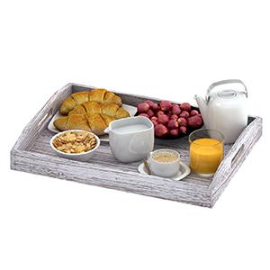 tray set ottoman 3 three wood real paulownia handles food breakfast coffee bed eating table rustic
