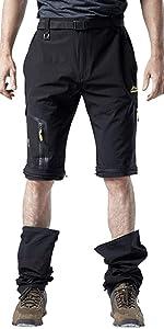 Mens Hiking Outdoor Quick Dry Lightweight Convertible Zip Off Work Climbing Mountian Pants