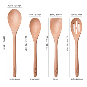 kitchen cooking utensil set beech wood Non Scratch natural turner slotted spoon spatula kitchen tool