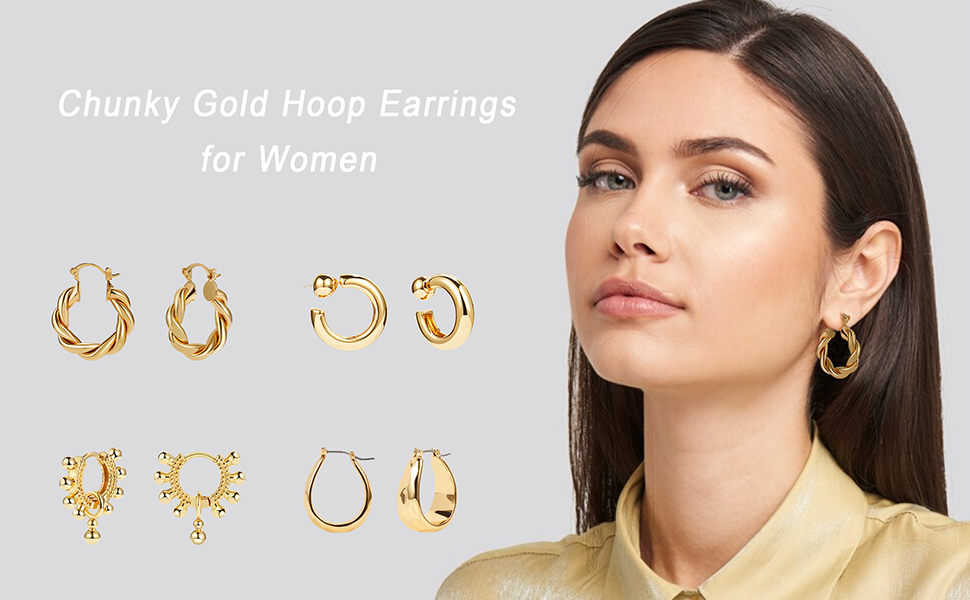 gold twisted chunky hoop earrings for women