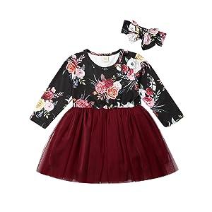 Toddler Girl Christmas Floral Tutu Dress