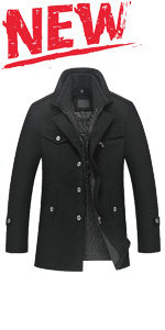 men's wool quilted lined coat