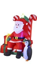 6 FT Tall Santa Claus on Candy Throne Inflatable