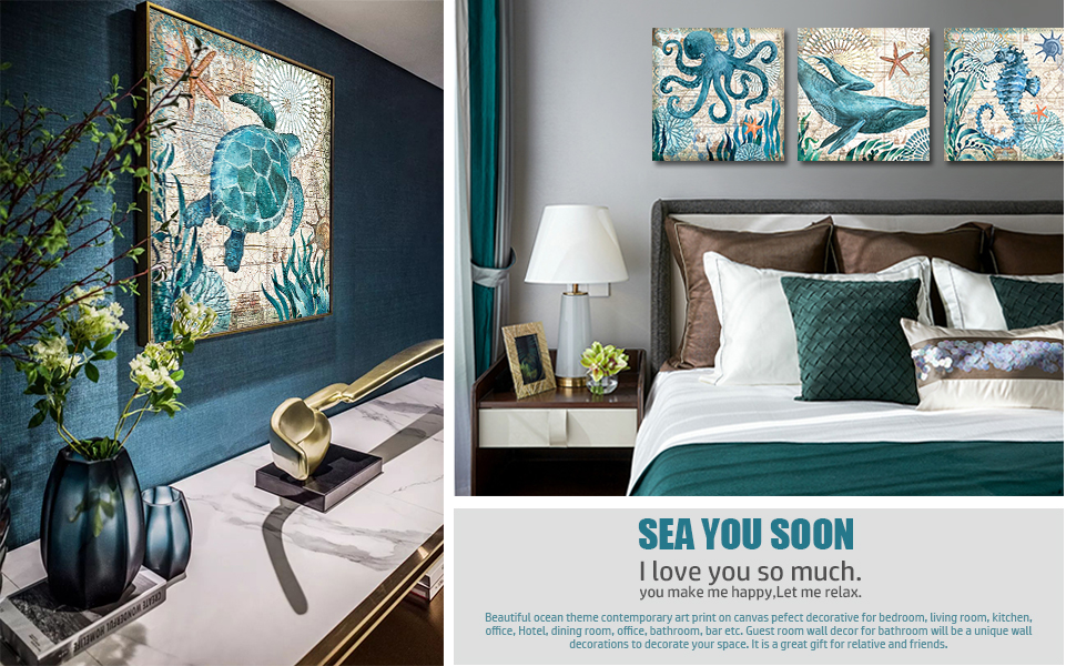 Amazon Com Wall Decor Bathroom Canvas Art For Living Room Home Decorations Kitchen Teal Ocean Sea Turtle Horse Octopus Pictures Poster Nautical Beach Theme Watercolor Paintings Bedroom Framed Set 4 Piece 12x12 Posters