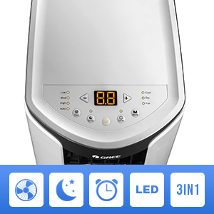 The shiny portable air conditioner was equipped with digital LED panel easy to use.