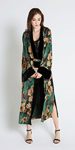 KIM+ONO Women's Charmeuse Kimono Wrap Watercolor Floral - Azumi Green