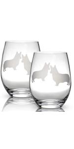 dog wine stemless