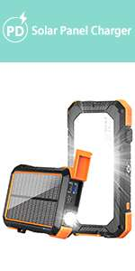 solar power bank portable charger with flashlight