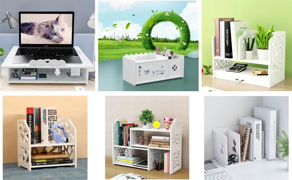 book shelf Men for Office Decor Accessories Small Bookshelf for Desktop Storage Mini Narrow Desk White Ladder Organizers for Women Kids